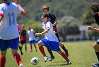 Action from the 2019 National Age Group Tournament Under-15 Boys football match between Auckland and Mainland at Fraser Park in Lower Hutt, Wellington, New Zealand on Thursday, 12 December 2019. Photo: Dave Lintott / lintottphoto.co.nz