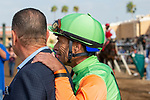 DEL MAR, CA  SEPTEMBER 2: Trainer Jeff Bonde and Gary Stevens wait for the results of an inquiry in the Del Mar Juvenile Turf on September 2, 2018 at Del Mar Thoroughbred Club in Del Mar, CA. (Photo by Casey Phillips/Eclipse Sportswire/Getty ImagesGetty Images