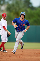 St. Lucie Mets left fielder Tim Tebow (15) runs the bases after hitting a home run in the top of the fourth inning during a game against the Florida Fire Frogs on July 23, 2017 at Osceola County Stadium in Kissimmee, Florida.  Shortstop Alejandro Salazar looks on.  St. Lucie defeated Florida 3-2.  (Mike Janes/Four Seam Images)