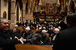 Priests from Chicago and around the nation and world arrive for the mass ahead of the installation ceremony of the Archbishop-elect of Chicago, Blase Cupich, at Holy Name Cathedral in Chicago, Illinois on November 18, 2014.  Cupich is the ninth Archbishop of Chicago and succeeds Cardinal Francis George.