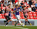 Kieron Freeman of Sheffield Utd tackled by Marc Wilson of Sunderland during the Championship match at the Stadium of Light, Sunderland. Picture date 9th September 2017. Picture credit should read: Simon Bellis/Sportimage