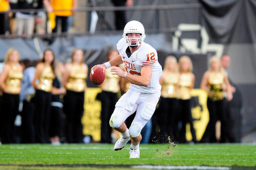 04 October 2008: Texas quarterback Colt McCoy during a game against Colorado. The Texas Longhorns defeated the Colorado Buffaloes 38-14 at Folsom Field in Boulder, Colorado. For Editorial Use Only