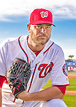 28 February 2016: Washington Nationals pitcher Nick Masset poses for his Spring Training Photo-Day portrait at Space Coast Stadium in Viera, Florida. Mandatory Credit: Ed Wolfstein Photo *** RAW (NEF) Image File Available ***