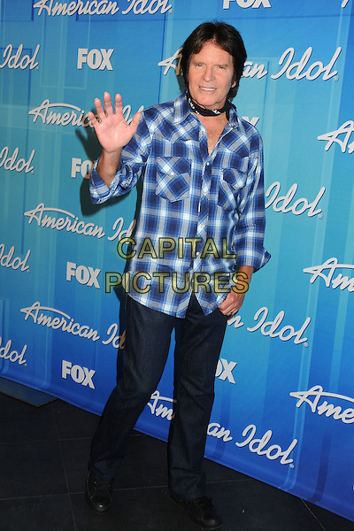 John Fogerty.American Idol Season 11 Finale - Press Room held at Nokia Theatre LA Live, Los Angeles, California, USA..May 23rd, 2012.full length black white blue check shirt jeans denim hand palm waving .CAP/ADM/BP.©Byron Purvis/AdMedia/Capital Pictures.