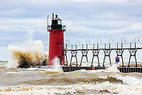 64795-02311 South Haven Lighthouse with high waves crashing South Haven,  MI