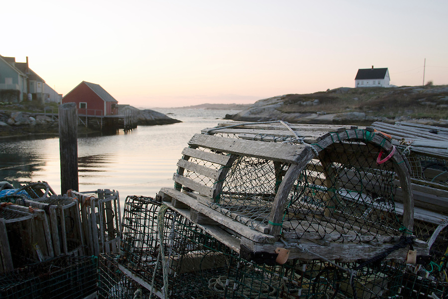 Lobster traps on dock at Peggy's Cove