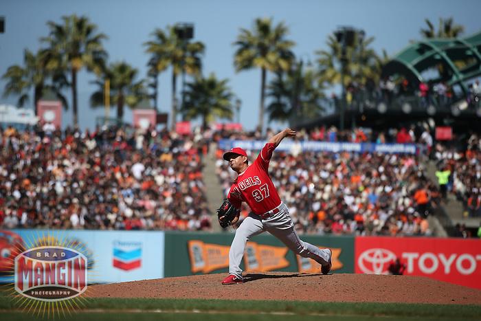 SAN FRANCISCO, CA - MAY 2:  Cesar Ramos #37 of the Los Angeles Angels pitches against the San Francisco Giants during the game at AT&T Park on Saturday, May 2, 2015 in San Francisco, California. Photo by Brad Mangin