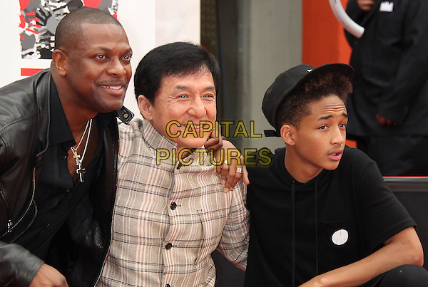 Chris Tucker, Jackie Chan, Jaden Smith<br /> Jackie Chan Hand &amp; Footprint Ceremony held at the TCL Chinese Theatre, Hollywood, California, USA, <br /> 6th June 2013.<br /> half length print plaid checked jacket beige jacket suit black leather jacket cap hat  <br /> CAP/ADM/RE<br /> &copy;Russ Elliot/AdMedia/Capital Pictures