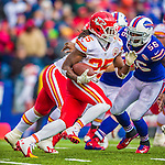 9 November 2014: Kansas City Chiefs running back Jamaal Charles rushes for a four-yard gain and a first down to end the half against the Buffalo Bills at Ralph Wilson Stadium in Orchard Park, NY. The Chiefs rallied with two fourth quarter touchdowns to defeat the Bills 17-13. Mandatory Credit: Ed Wolfstein Photo *** RAW (NEF) Image File Available ***