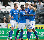 St Mirren v St Johnstone...19.10.13      SPFL<br /> Steven MacLean and Nigel Hasselbaink celebrate the equaliser with David Wotherspoon and Stevie May<br /> Picture by Graeme Hart.<br /> Copyright Perthshire Picture Agency<br /> Tel: 01738 623350  Mobile: 07990 594431