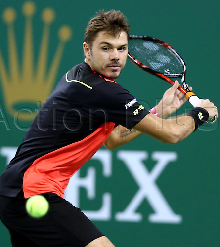 13.10.2016. Shanghai, China.  Stan Wawrinka of Switzerland returns the ball during the third round singles match against Gilles Simon of France at the Shanghai Masters tennis tournament in Shanghai, east China, Oct. 13, 2016. Wawrinka lost 0-2.