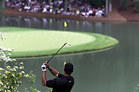 8th April 2001; Augusta, GA, USA;   Tiger Woods in Action chips to the green at the US Masters at Augusta Georgia U S A
