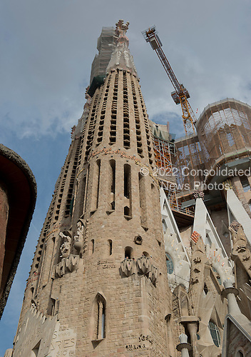 One of the towers that is under construction at The Basilica de la Sagrada Fam&iacute;lia (Basilica and Expiatory Church of the Holy Family) in Barcelona, Spain on October 19, 2013.<br /> Credit: Ron Sachs / CNP