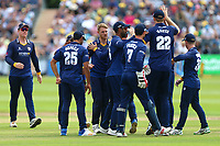 Jamie Porter of Essex is congratulated by his team mates after taking the wicket of Michael Klinger during Gloucestershire vs Essex Eagles, NatWest T20 Blast Cricket at The Brightside Ground on 13th August 2017