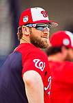 28 February 2017: Washington Nationals outfielder Bryce Harper awaits his turn in the batting cage prior to the inaugural Spring Training game between the Washington Nationals and the Houston Astros at the Ballpark of the Palm Beaches in West Palm Beach, Florida. The Nationals defeated the Astros 4-3 in Grapefruit League play. Mandatory Credit: Ed Wolfstein Photo *** RAW (NEF) Image File Available ***