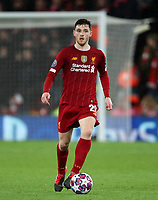 11th March 2020; Anfield, Liverpool, Merseyside, England; UEFA Champions League, Liverpool versus Atletico Madrid;  Andy Robertson of Liverpool looks up before passing the ball