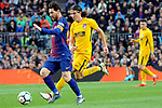 League Santander 2017/2018. Game: 28.<br /> FC Barcelona vs At. Madrid: 1-0.<br /> Lionel Messi vs Filipe Luis.