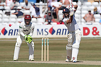Ravi Bopara of Essex in batting action as Steven Davies looks on from behind the stumps during Essex CCC vs Somerset CCC, Specsavers County Championship Division 1 Cricket at The Cloudfm County Ground on 26th June 2018