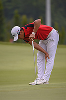 Andy ZHANG (CHN) reacts to nearly chipping in on 11 during Rd 4 of the Asia-Pacific Amateur Championship, Sentosa Golf Club, Singapore. 10/7/2018.<br /> Picture: Golffile | Ken Murray<br /> <br /> <br /> All photo usage must carry mandatory copyright credit (&copy; Golffile | Ken Murray)