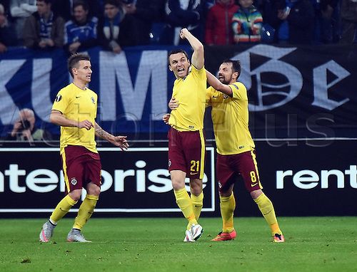 22.10.2015. Gelsenkirchen, Germany. UEFA Europa League football. FC Schalke versus Sparta Prague.  Goal celebration, for the goal for 1:2 scorer David Lafata (Sparta Prag)