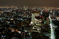 Mexico City at night shot from the Torre Latino in the Centro Historico.  Mexico September 10, 2008
