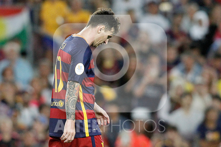 FC Barcelona's Leo Messi dejected during Supercup of Spain 2nd match.August 17,2015. (ALTERPHOTOS/Acero)