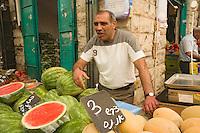 Asie/Israël/Judée/Jérusalem détail étal de primeur du marché Mahane Yehuda un des marchés les plus importants de la a ville