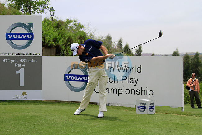 Lee Westwood (ENG) teeing off on the 1st tee during Day 1 of the Volvo World Match Play Championship in Finca Cortesin, Casares, Spain, 19th May 2011. (Photo Eoin Clarke/Golffile 2011)