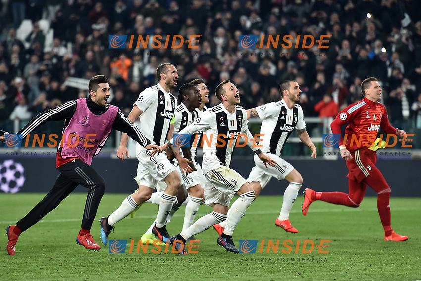 Juventus players celebrate the victory at the end of the Uefa Champions League 2018/2019 round of 16 second leg football match between Juventus and Atletico Madrid at Juventus stadium, Turin, March, 12, 2019 <br />  Foto Andrea Staccioli / Insidefoto