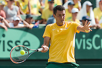 March 4, 2016: Bernard Tomic of Australia in action against Jack Sock of USA during match two of the BNP Paribas Davis Cup World Group first round tie between Australia and USA at Kooyong tennis club in Melbourne, Australia. Tomic won in 4 sets. Photo Sydney Low