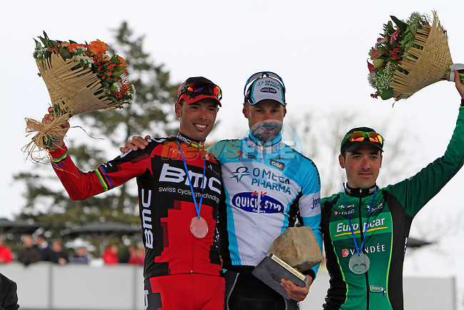 Tom Boonen (BEL) Omega Pharma-Quickstep wins with Sebastien Turgot (FRA) Team Europcar 2nd and Alessandro Ballan (ITA) BMC Racing on the podium in the Roubaix Velodrome at the end of the 110th edition of the Paris-Roubaix spring classic cycle race. 8th April 2012 (Photo by Eoin Clarke 2012)