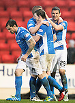 St Johnstone v Hamilton Accies…28.01.17     SPFL    McDiarmid Park<br />Graham Cummins celebrates his second goal with Brian Easton, Blair Alston and Paul Paton<br />Picture by Graeme Hart.<br />Copyright Perthshire Picture Agency<br />Tel: 01738 623350  Mobile: 07990 594431