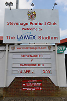 Welcome board during Stevenage vs Cambridge United, Sky Bet EFL League 2 Football at the Lamex Stadium on 14th April 2018