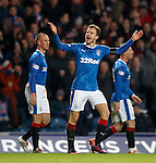 Andy Halliday celebrates to the Copland Road stand