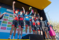 Picture by SWpix.com - 06/05/2018 - Cycling - 2018 Tour de Yorkshire - Stage 4: Halifax to Leeds - Yorkshire, England - BMC take the team award at the Tour de Yorkshire.
