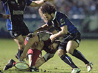 2005/06 Powergen Cup, Bath Rugby vs Gloucester Rugby, Gloucester's Mike Tindall [left] and Bath's Joe Maddock, contest the loose ball, at The Rec, with bath running out the winners, on the 03.12.2005.   © Peter Spurrier/Intersport Images - email images@intersport-images..