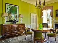 In this bright morning room Wilson Kerr has designed the rug and the curtain pelmet and has furnished it with a sideboard, table and chairs from France