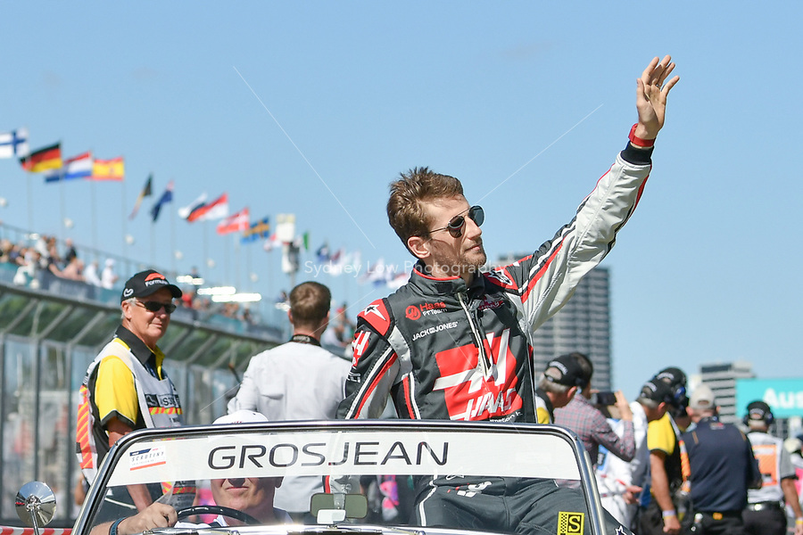 March 25, 2018: Romain Grosjean (FRA) #8 from the Haas F1 Team waves to the crowd during the drivers' parade at the 2018 Australian Formula One Grand Prix at Albert Park, Melbourne, Australia. Photo Sydney Low