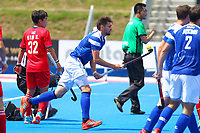 Kenny Bain of Scotland returns the ball aback to the centre spot after scoring Scotlands 2nd goal to take the score to 6-2 to Korea during the Hockey World League 9th and 10th placing match between Korea and Scotland at the Olympic Park, London, England on 22 June 2017. Photo by Steve McCarthy.