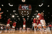 15 November 2007: (L-R) Stanford Cardinal Candice Wiggins, Melanie Murphy, Hannah Donaghe, Michelle Harrison, Jayne Appel, and Kayla Pedersen during Stanford's 97-62 loss against the USA Women's National Basketball Team at Maples Pavilion in Stanford, CA.