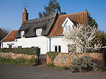 Pretty country cottages in Marlesford village, Suffolk, England