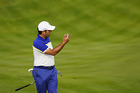 Francesco Molinari (Team Europe) on the 15th during the singles matches at the Ryder Cup, Le Golf National, Ile-de-France, France. 30/09/2018.<br /> Picture Fran Caffrey / Golffile.ie<br /> <br /> All photo usage must carry mandatory copyright credit (© Golffile | Fran Caffrey)