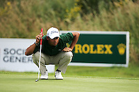 Pablo Larrazabal lines up his putt on the 14th green during the final round of the 2008 Open de France Alstom at Golf National, Paris, France June 29th 2008 (Photo by Eoin Clarke/GOLFFILE)