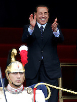 Il Presidente del Consiglio Silvio Berlusconi applaude durante la parata militare per la Festa della Repubblica a Roma, 2 giugno 2008. .Italian Premier Silvio Berlusconi applauds during the military parade for the Italian Republic Day in Rome, 2 june 2008. UPDATE IMAGES PRESS/Riccardo De Luca