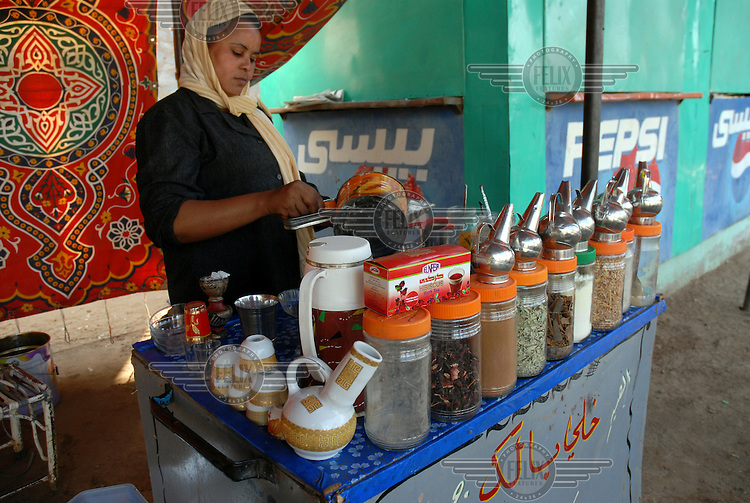 Typical Sudanese tea stall at a popular city 'family park' or funfair.