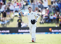 23rd November 2019; Mt Maunganui, New Zealand;  BJ Watling celebrates his century during play on Day 3, 1st Test match between New Zealand versus England. International Cricket at Bay Oval, Mt Maunganui, New Zealand.  - Editorial Use