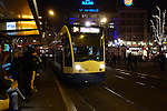 Dam Square, night, tram, Amsterdam, Netherlands,