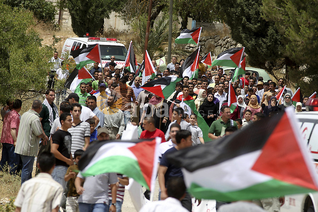 Palestinians from the village of Bet In, north of Ramallah, hold up their national flag during protest against Israeli occupation on June 11, 2010 near the Jewish settlement of Beit El. Photo by Eyad Jadallah