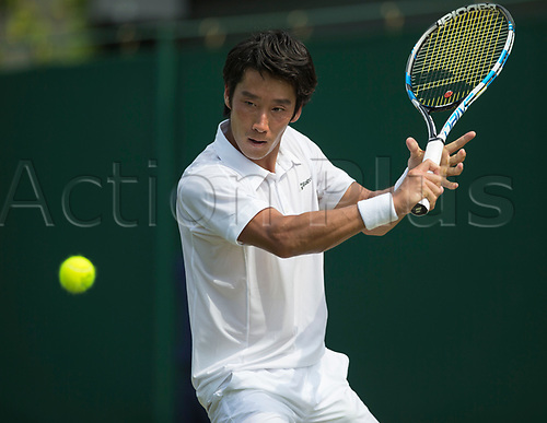 July 6th 2017, All England Lawn Tennis and Croquet Club, London, England; The Wimbledon Tennis Championships, Day 4; Yuichi Sugita (JPN) hits a backhand return to Adrian Mannarino (FRA)