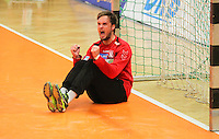 Handball, 1. Runde im DHB-Pokal 2014/ 2015: SC DHfK Leipzig vs. TV Bittenfeld 27:25 (12:11) am 20.08.2014 in der Ernst-Grube-Halle Leipzig. Im Bild: Felix Storbeck (#12, Leipzig).